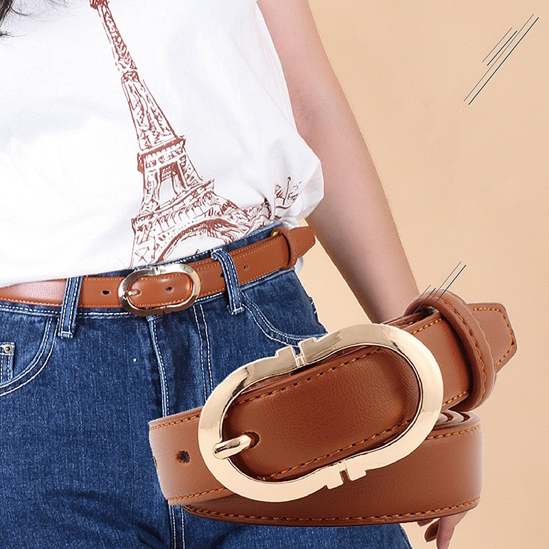 Women's Leather Belt Sweetness Women Cow Leather Belt Gold Buckle Thin Belt For Women Candy Colors Adjustable Belt Female Belts