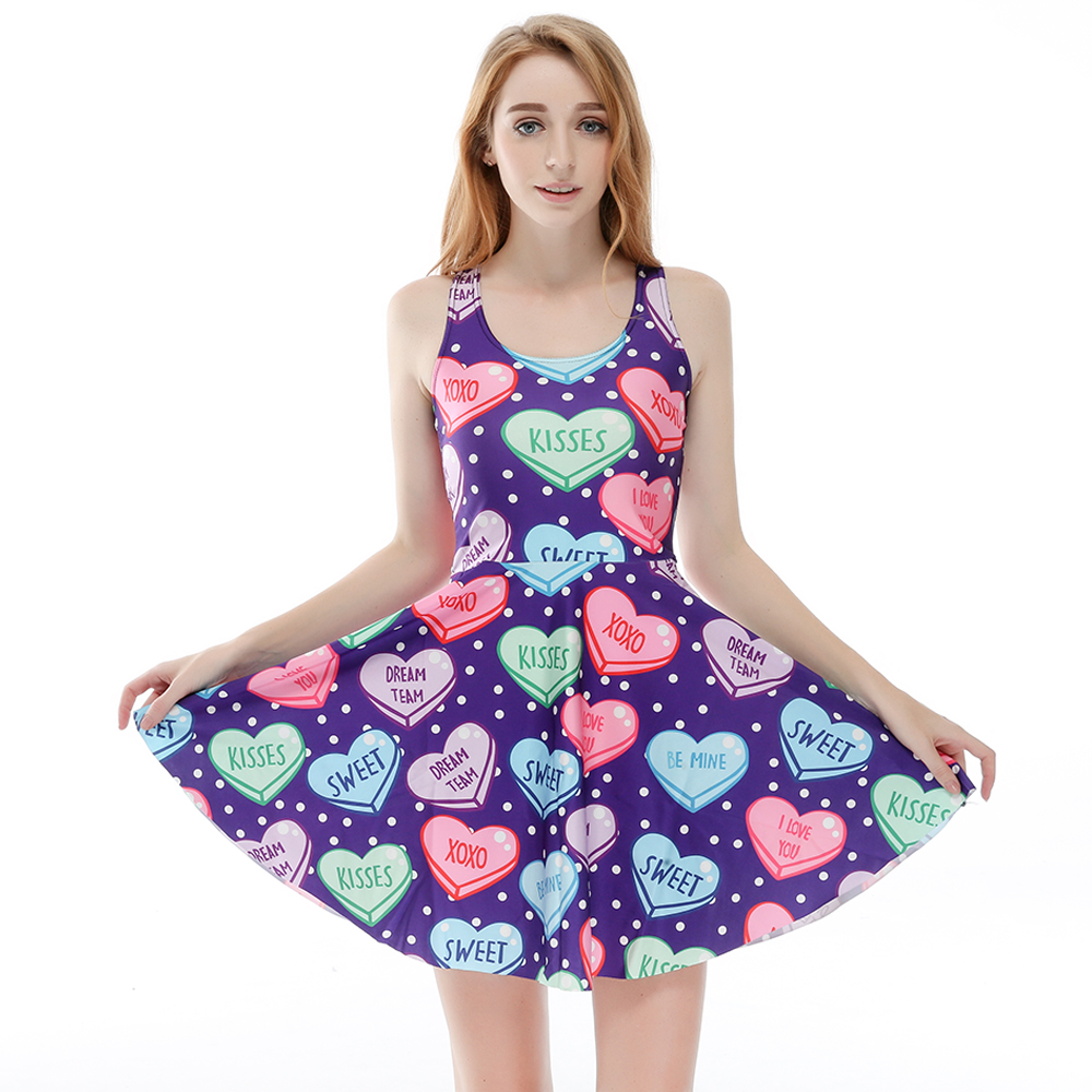 3 Patterns Women Blue Heart Print Summer Dress Blue Pink 3D Print Pleated Dresses Above Knee S To 4xL