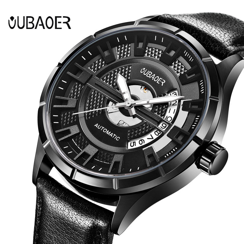 OUBAOER Mens Watches Top Brand Luxury Fashion Casual Business Watches Men's Automatic Mechanical Watch Sports Wristwatch Clock make up factory full intense mascara тушь для ресниц объем и удлинение черный 8 мл