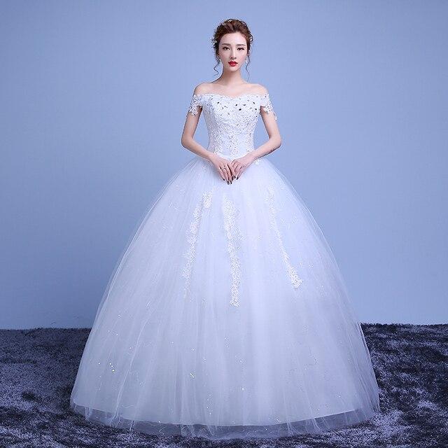 Sexo elegante Coreano Vestidos de Novia Envío Gratis Boat neck ...