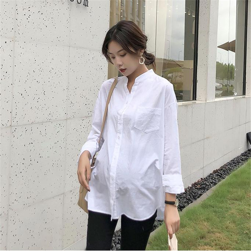 Spring and autumn maternity dress fashionable maternity shirt white shirt long sleeves small v-neck loose size blue floral print v neck slit design long sleeves dress