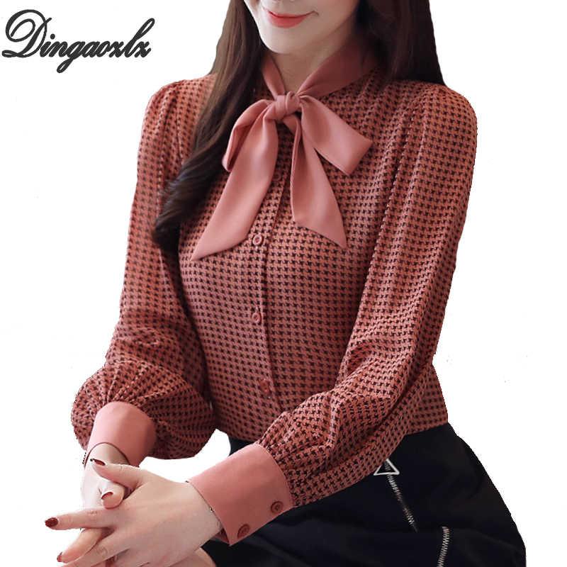 Dingaozlz 春女性ブラウスファッション蝶ネクタイ千鳥格子の女性トップ長袖シフォンシャツ Blusa