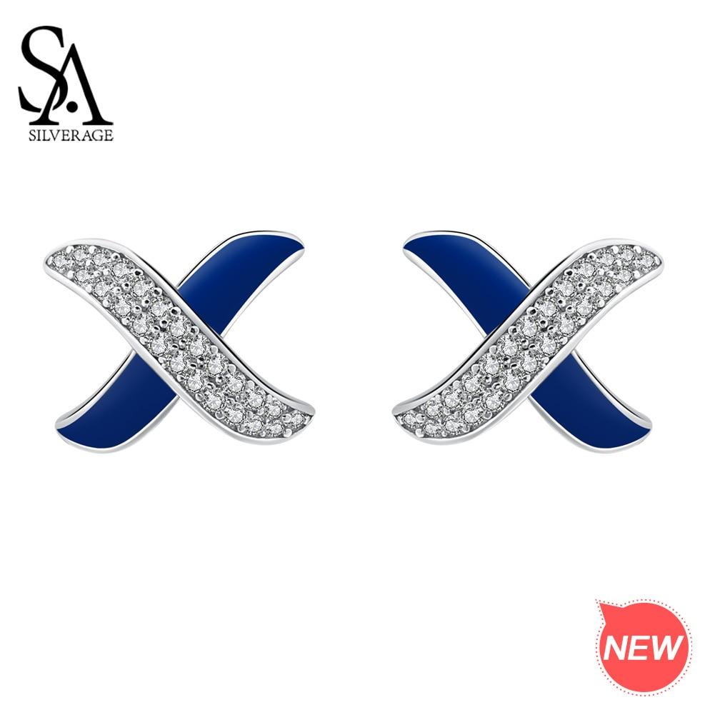 SA SILVERAGEStud Earrings Wedding Elegant Silver 925 New Silver Stud Earring Woman EarringsAAA Zirconia Magic X Romantic Jewelry in Earrings from Jewelry Accessories
