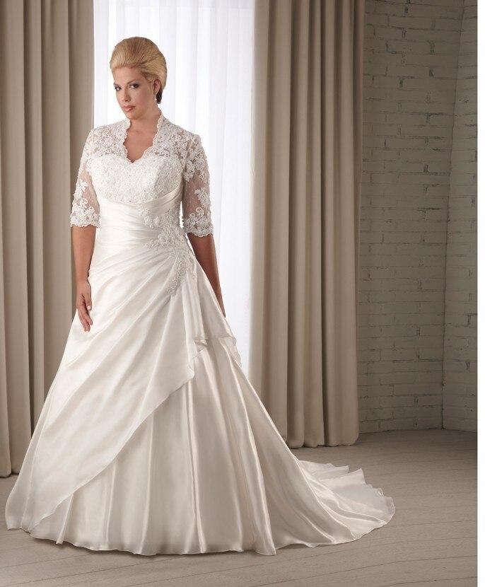 2017 new fashion maxi for big women with sheer sleeves larges lace keyhole back maxi vestido de noiva plus sizes wedding dresses
