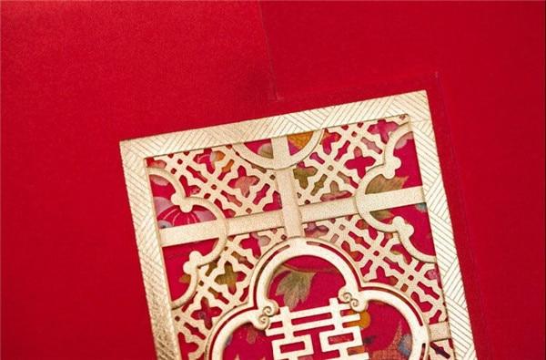 Chinese Wedding Invitation Card Laser Cut Standard Square