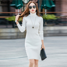 Casual Winter Dress Turtleneck Knitted Cashmer Thick Sweater Dress Warm Women Cotton Bodycon Dress Pullover Female Autumn female autumn winter dress 2017 turtleneck long knitted sweater vestidos women slim bodycon dress casual pullover ws4716c