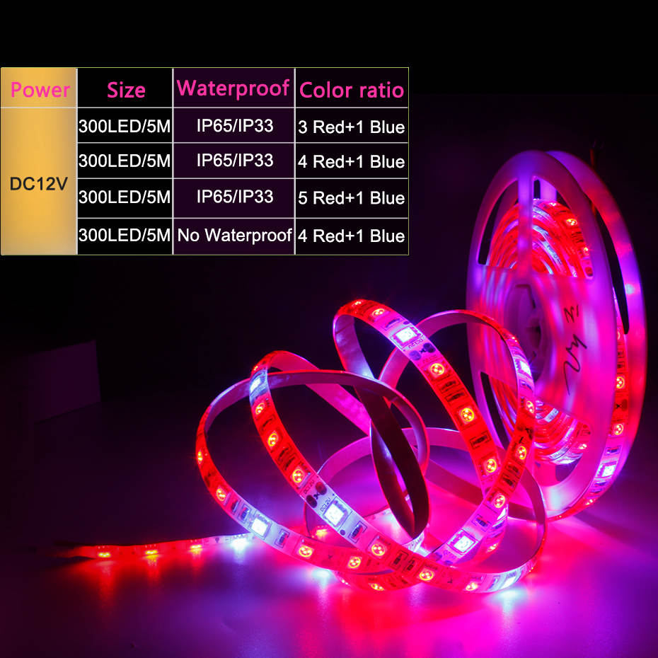 LED Grow Light Full Spectrum 5M LED Strip 5050 LED Flower Plant Phyto Growth Lamps For Greenhouse Hydroponic Plant Growing