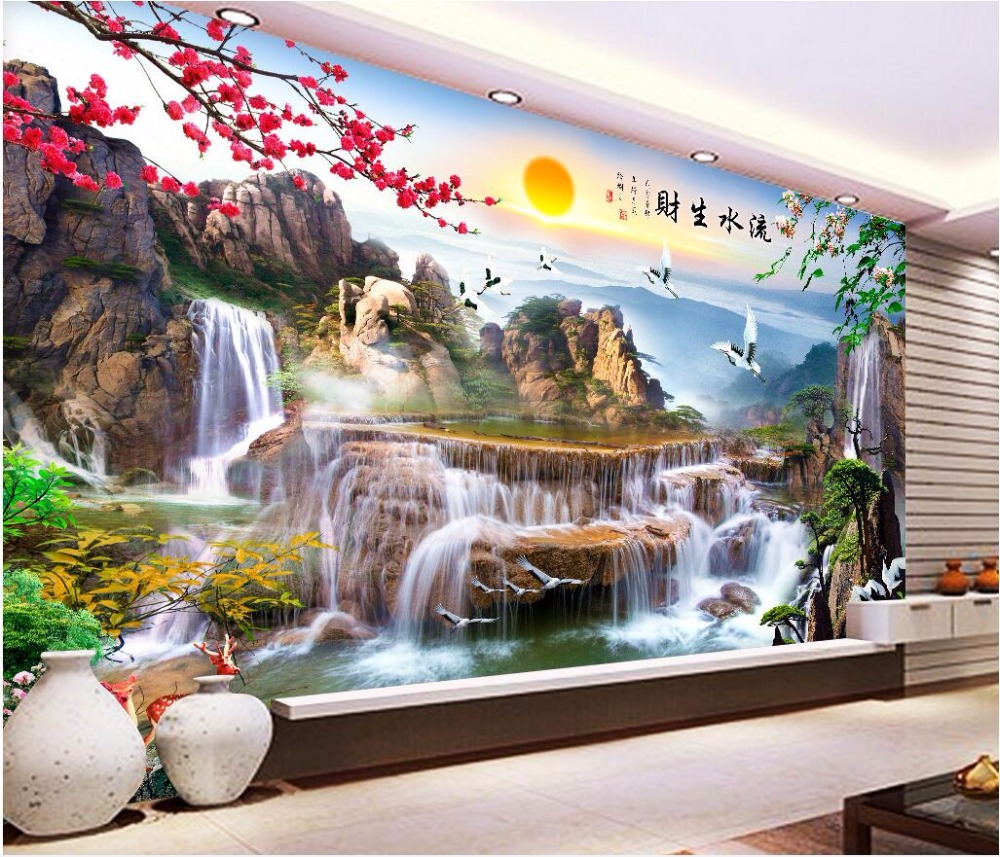 Custom mural 3d wallpaper sun mountain flowing water living room home decor painting 3d wall murals wallpaper for walls 3 d custom photo 3d wall murals wallpaper mountain waterfalls water decor painting picture wallpapers for walls 3 d living room