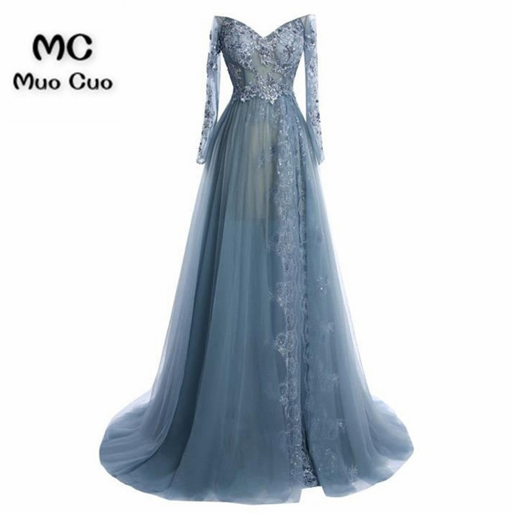 2018 Off Shoulder Prom dresses Long with Long Sleeves Beaded dress for graduation Tulle A-Line Formal Evening Prom Dress
