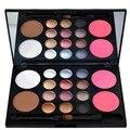 1 pc hot sale professional 12 cores shimmer da paleta da sombra em pó + + rouge pigmento com 2 escova da sombra de olho maquiagem cosméticos definir
