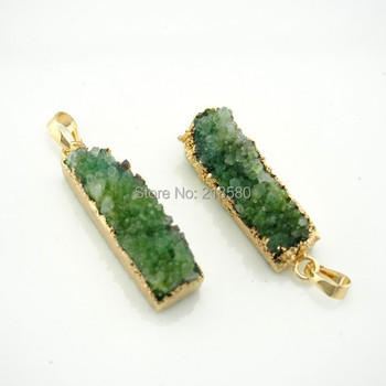 C150211019 Green Druzy Druzzy Drusy Rectangle Bar Charm Pendant with  Gold Electroplated Edges