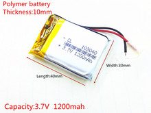 3.7V 1200mAh 103040 Lithium Polymer LiPo Rechargeable Battery For Mp3 Mp4 PAD DVD DIY E-book bluetooth
