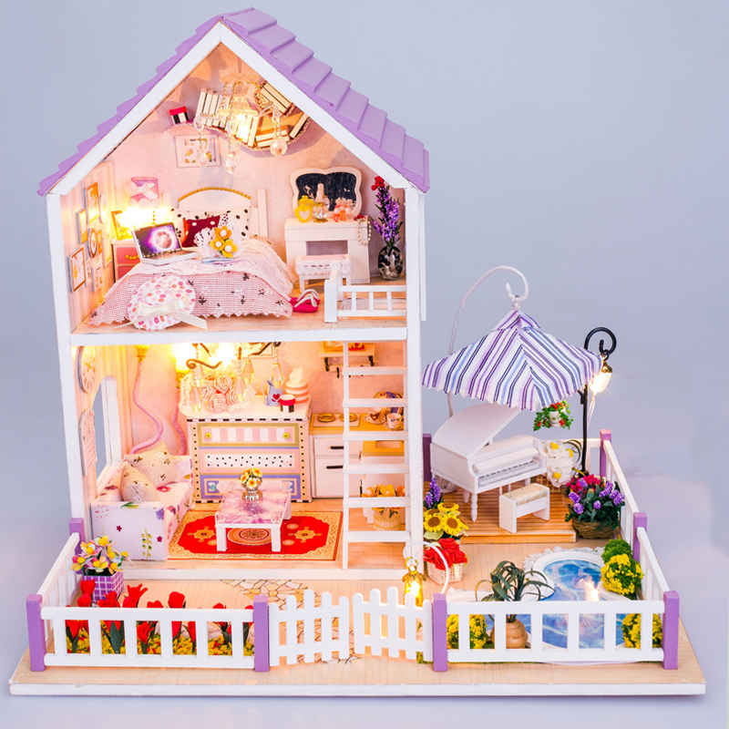 DIY DollHouse Villa Model Miniature With Furnitures Wooden Doll House Puzzles Toys Christmas Gift Romantic Purple House 13834 #D 13834 diy doll house miniatures villa dollhouse miniature wooden building model furniture model for child toys