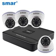 Smar охранных Камера Системы аналоговый автономный комплект 4 канала видеонаблюдения DVR NVR AHD 4 шт. 700TVL 24 Инфракрасный светодиод Крытый купол