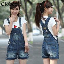 Women Denim Distresses Style Jumpsuit Front Flap Pocket Short Overalls Girl Washed Jeans Jumpsuit Romper Plus