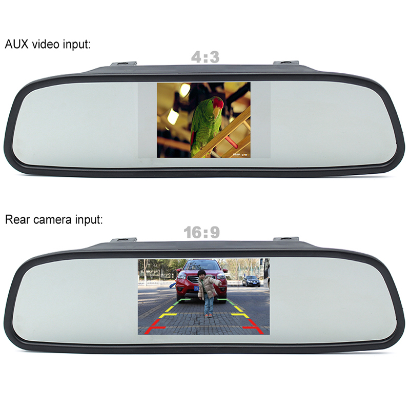 GreenYi 5 Car Rearview Mirror Monitor Rear View Camera TFT-CCD Video Auto Parking Kit 4 LED Night Vision Reversing Car-styling