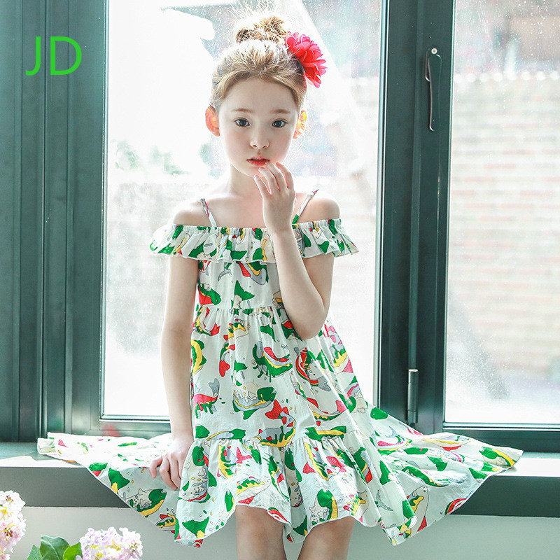 Summer New Han Edition Baby Clothes Girls Bohemian Dress  with Shoulder-straps Children Beach Dress Girls Condole