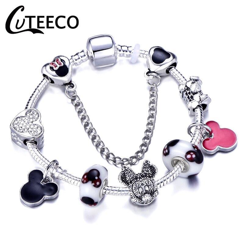 CUTEECO Европейский Любовь Сердце Шарм Браслеты и браслеты новые Марано бусины fits Дизайнерские Браслеты Женские Модные Ювелирные изделия Подарки - Окраска металла: AE0215