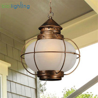 Черный деревенский открытый подвесной светильник Прозрачный или белый стеклянный шар оттенок водонепроницаемый снаружи подвесной светил
