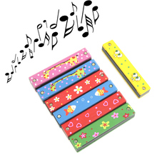 Wooden Painted Harmonica Children Kids Musical Instrument Educational Music Toy #K4UE# Drop Ship