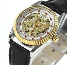 Mechanical Watches Gold Skeleton Pink Crystal Deco