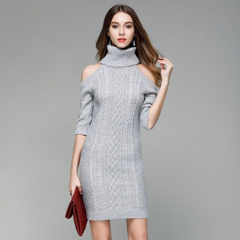 YIFWFAN 2017 Sexy Open Shoulder Sweater Turtleneck Women Slim Sweater Dress Elegant Pullover Knitwear Famale Autumn Long Sweater