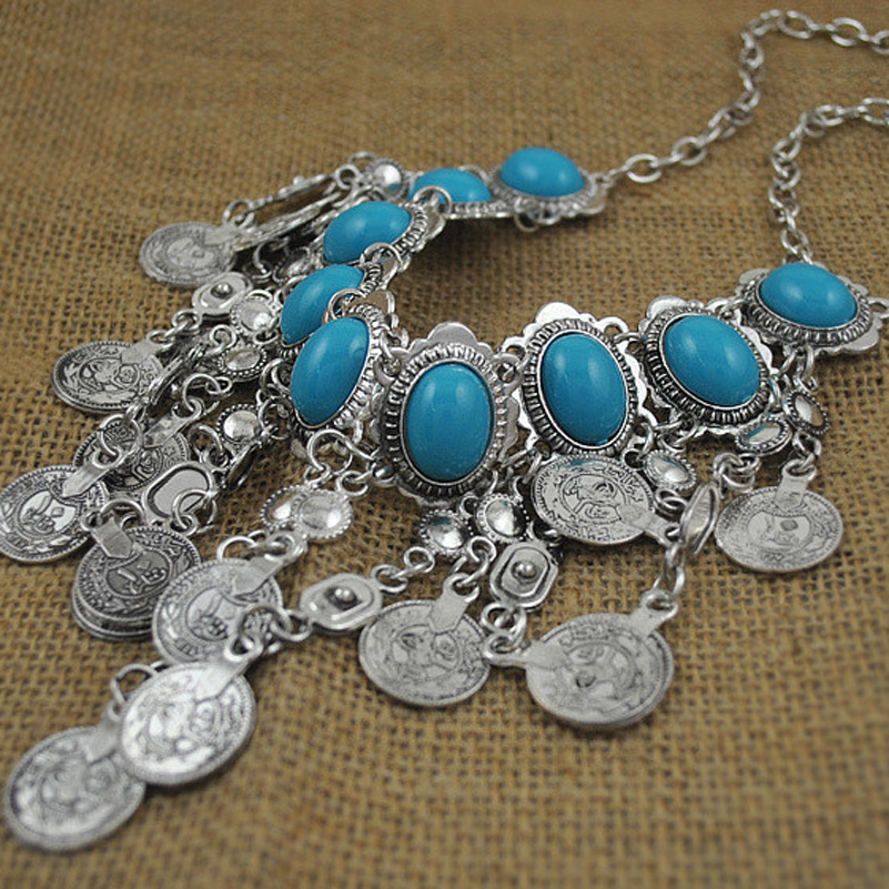 Bohemia Silver Zamac Jewelry Blue Gem Turkish Gypsy Ethnic Tribal Coin Tassel Statement Necklace