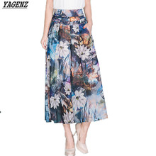 YAGENZ15 Colors Summer Women Pants New Plus Size 4XL Printed Chiffon Wide Leg Pants Loose Casual