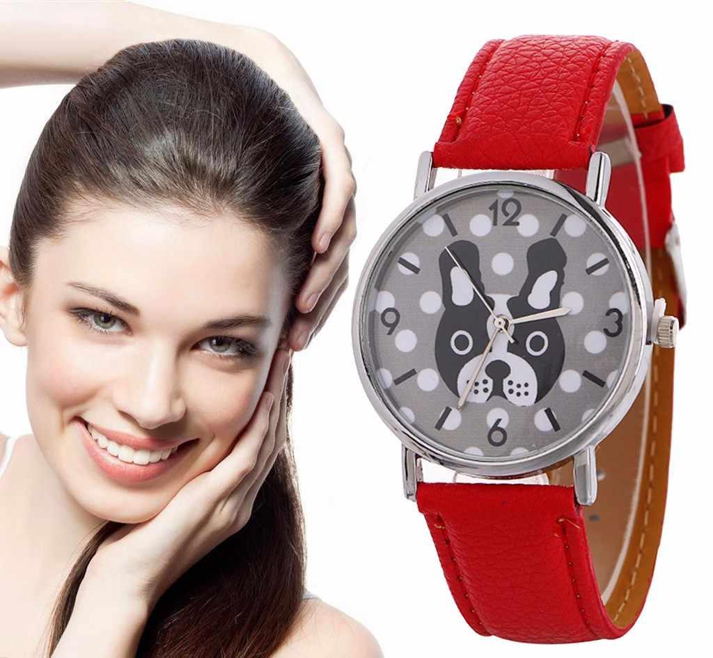 Zegarek dla psa zegarki damskie wzór zwierzęcy zegarek kwarcowy pasek skórzany damski zegarki damskie zegarki kwarcowe dla dzieci