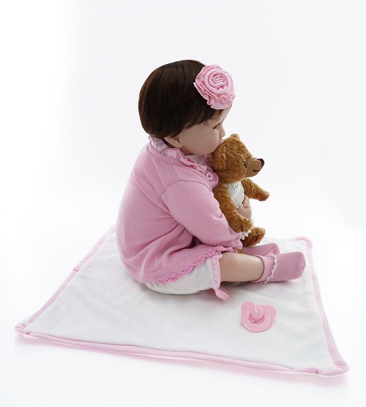 Neugeborenen silikon reborn babys puppe + Weiche Spielzeug bär handgemachte mädchen gerade die echt baby lebensechte baby reborn menina bonecas-in Puppen aus Spielzeug und Hobbys bei  Gruppe 3