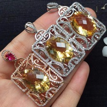 ON SALE only one real s925 silvery gems size 13*18mm 925 silver natural citrine pendant for women pendants neckalces