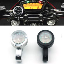 цена на Universal 7/81 Motorcycle Handlebar Black Dial Clock Watch For Harley Cruiser Chopper Honda Yamaha