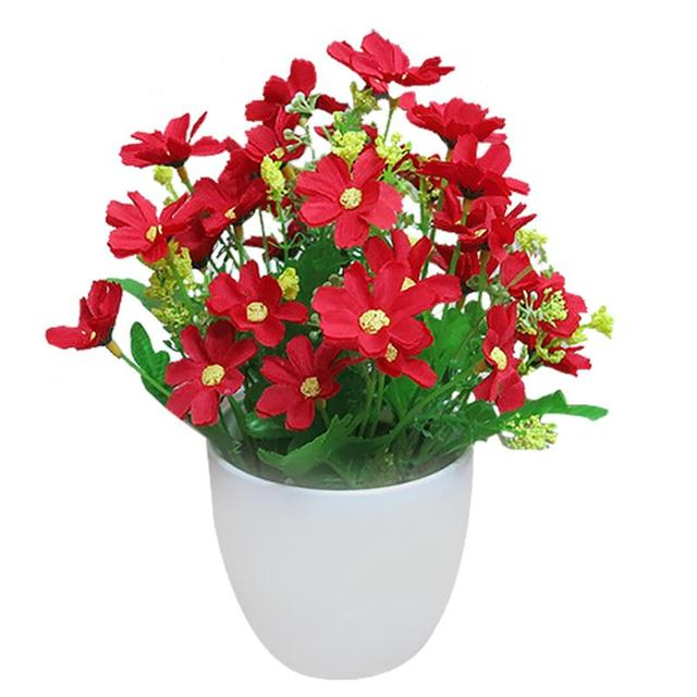 Искусственные цветы яркий цвет реалистичные Хризантема поддельные растения в горшках растения украшения дома