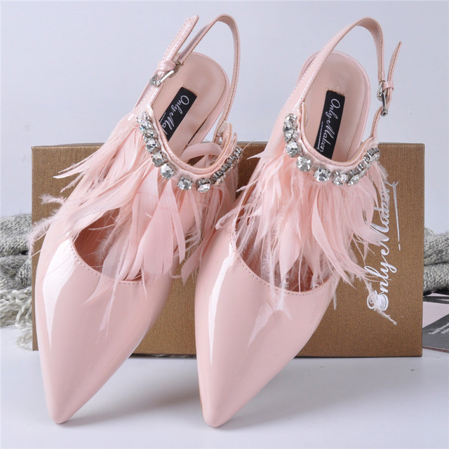 4ff97c36f23 onlymaker Women s Fluffy Feather Slingback Pointed Toe Pumps Tassel  Rhinestone Sandals Kitten Heel Wedding Dress Shoes