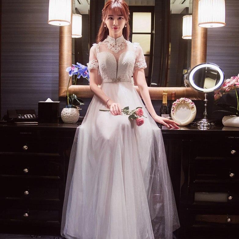 moderno chino qi pao vestido blanco mujeres phoenix bordado boda de la manera de corea