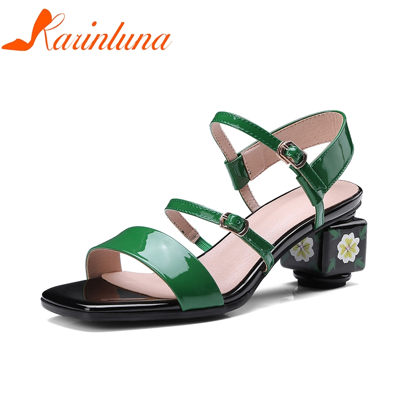 KARINLUNA Plus Size 34-43 Cow Genuine Leather High Heel Woman Shoes Appliques Leisure Women Shoes Summer Sandals ribetrini summer large size 34 40 cow genuine leather woman shoes mix color leisure flats women shoes sneakers