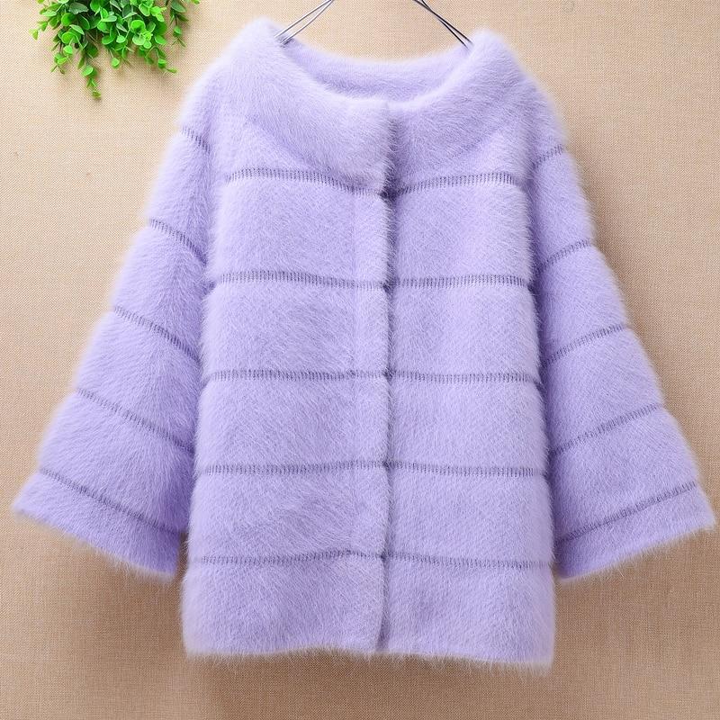 Women Elegant Winter Fashion Loose Solid Plush Mink Cashmere Cardigan Long Flare Sleeves Angora Rabbit Fur Knitted Sweater Coat