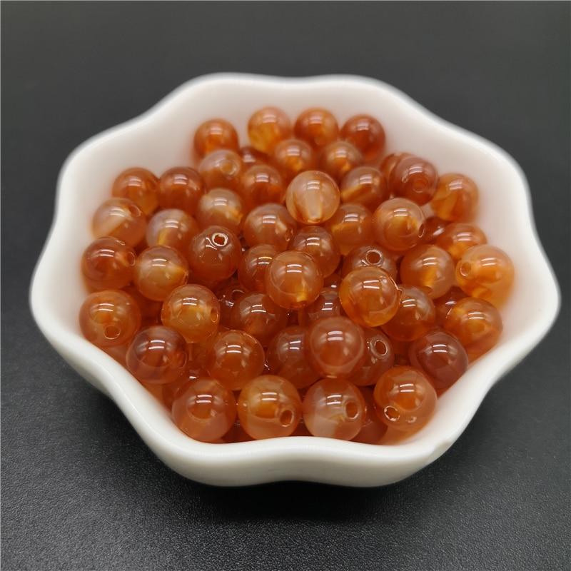 6, 8, 10 мм, Имитация натурального камня, круглые акриловые бусины с эффектом облаков, бусины для изготовления ювелирных изделий, браслет, ожерелье, аксессуары DIY - Цвет: 17-Brown