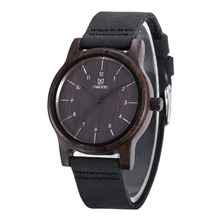 2016 New Wooden Watch Mens Luxury Brand Round Wood Case Elegant Men Quartz Wrist Gift Dress