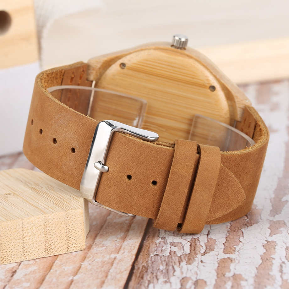 Bamboo Clock Handmade Leather Strap Watches Women Casual Quartz Wristwatch Wooden Watches 2018 Men relogio masculino (30)