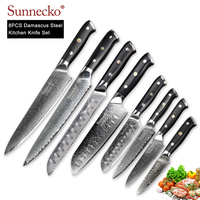 SUNNECKO 8PCS Kitchen Knife Set Chef Utility Santoku Steak Knives Damascus VG10 Steel Core Sharp Blade G10 Handle Cutting Tools