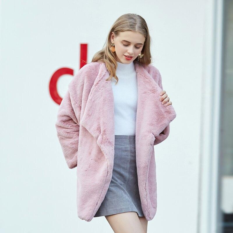 down Col Mode Casual Coat Rose Manteau Veste 2018 Turn Fourrure Femme Faux Coat Manteaux Fur Vestes White Doux De Chaude D'hiver Shaggy Lapin pink O7vdnq