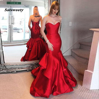 Simple Red Mermaid Evening Dresses Sweetheart Ruffles Satin Floor Length Bandage Long Women Prom Party Dresses