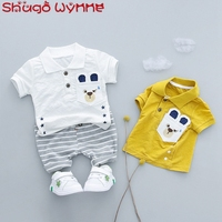 Summer Baby Boys Short Sleeve Lapel Collar T Shirt Striped Shorts Casual Cotton Infant Clothing Sets