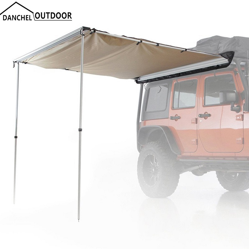 khaki color 4WD car rooftop tent side awning for sun shade ...