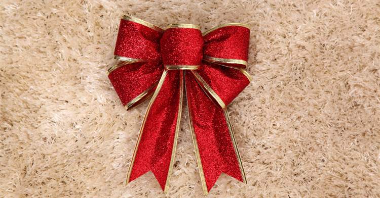 3Color Large Red Silver Guld Jul Ribbon Bow Julgransdekoration - Semester och fester - Foto 5