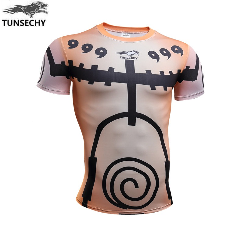 TUNSECHY Naruto nara deer pill Sasuke Payne round collar short sleeve tight T-shirts wholesale and retail free shipping