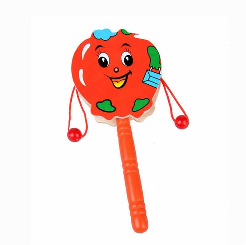 17 см Деревянный Погремушка барабан мультфильм музыкальный инструмент игрушка для детей подарок погремушка-барабаны 0-12 месяцев Детские игрушки 221 #10