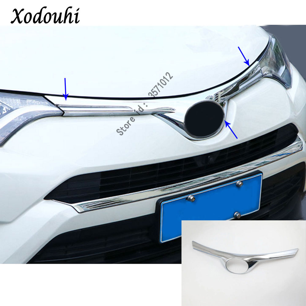 For Toyota RAV4 2016 2017 2018 car garnish ABS Chrome front engine Machine grille upper hood stick lid trim frame lamp 1pcs for nissan x trail xtrail t32 rogue 2014 2015 2016 abs chrome front engine machine grille upper hood stick lid trim lamp 1