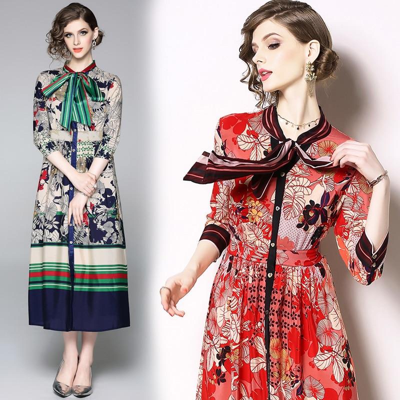 Nouvelle mode 2019 printemps marque Design Maxi Robe femmes Vintage magnifique imprimé col rond grande balançoire Robe Femme fête robes longues